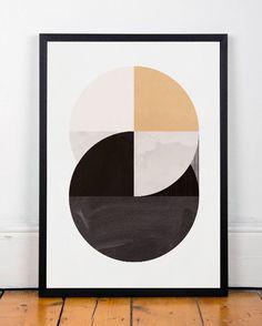Geometric print Minimalist print Circles by ShopTempsModernes  Geometric print, Minimalist print, Circles print, Nordic design, Scandinavian print, Abstract print, Watercolor abstract, Gold wall art
