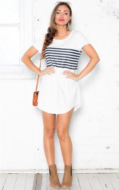 Get Your Bret On dress in white stripe   SHOWPO Fashion Online Shopping