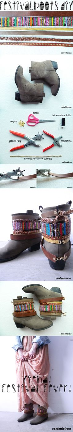 old, ugly thrift store boots = awesome DIY gypsy-boho/hippie style boots I could so this to mine