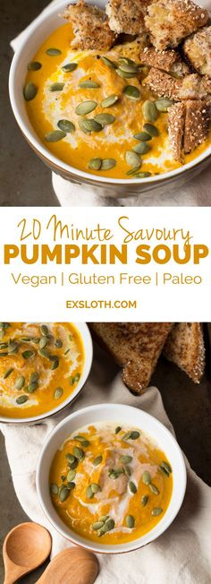 20 minute savoury pumpkin soup that's a little spicy but just as cozy and creamy as the original (vegan | gluten free | paleo) via ExSloth.com