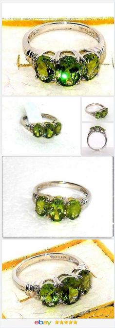 Natural Peridot 3-stone ring 3.00 carats Sterling Silver Size 7 USA SELLER  | eBay  50% OFF #EBAY http://stores.ebay.com/JEWELRY-AND-GIFTS-BY-ALICE-AND-ANN