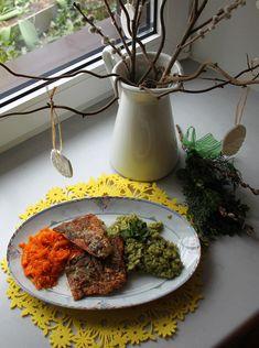 Bärlauch Risotto mit Forellenfilet und glasierten Spiralkarotten Vegan, Tandoori Chicken, Risotto, Ethnic Recipes, Food, Carrots, Meat, Eat Lunch, Easy Meals