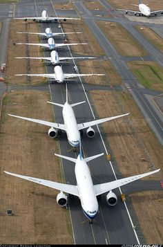 A line up of stored Boeings led by some China Southern 777Fs at Everett.