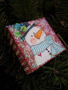 Christmas Snowman original mixed media canvas painting 4x4