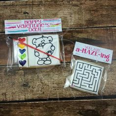 LC Sweets:  Paint Your Own Cookies - Square Maze & Teddy Bear holding a Heart