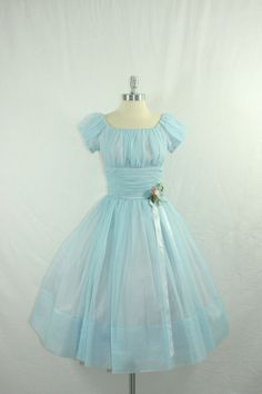 I am totally in love with this dress!    Vintage 1950's Blue Wedding  Dress - DREAMY Baby Blue Sheer Chiffon Full Skirt Cinderella Party Prom Frock. $280.00, via Etsy.
