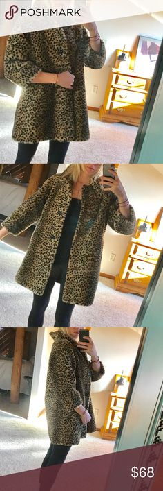 the ••leopard•• adorable faux leopard coat. fun and cozy addition for the winter months. super stylish and like new condition. fits s/m/l ••last pic is style inspiration•• Jackets & Coats
