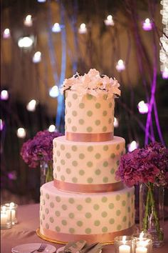 A chic polka dotted cake