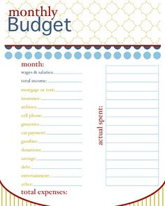 budget worksheet free printable.pdf   Printables!   Pinterest ...