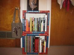 Recycle those old encyclopedia sets and make your own original bookcase.