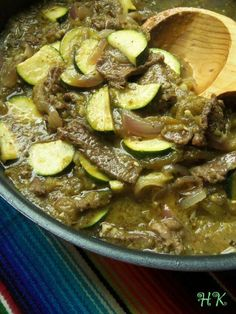 Beef chile verde with zucchinni