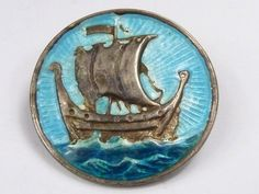 Vintage Iona Sterling silver & enamel brooch