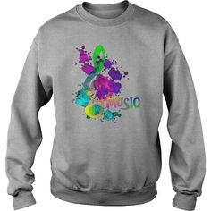 Funky Colorful Music Treble Clef Musical Note TShirt =>   Trendy Popping Music Themed Graphic Tee ShirtsArtistic Rainbow Paint Splatter - Bright Colorful Music Themed Shirts            Air jet yarn for softness and no-pill performance  2 X 1 fashion rib with spandex  Double-needle stitching  Quarter-turned to eliminate center crease