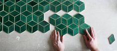Ručne robené smaragdovo zelené obkladačky v tvare diamantov Abstract, Artwork, Summary, Work Of Art, Auguste Rodin Artwork, Artworks, Illustrators