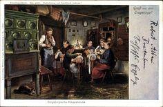 Künstler Ak Falk, G., Erzgebirgische Klöppelstube, Ofen #Erzgebirge