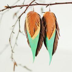 Leather earrings mint green/ beige/smoky brown/navojo