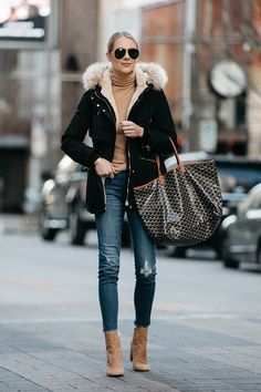 Fashion Jackson Zara Faux Fur Trimmed Black Parka Jacket Goyard Tote Denim Jeans Tan Turtleneck Sam Edelman Corra Booties