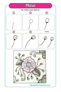Miguo Tangle, Zentangle Pattern by YuRu Chen Doodle Zen, Zen Doodle Patterns, Tangle Doodle, Zentangle Patterns, Zentangle Drawings, Doodles Zentangles, Doodle Drawings, Flower Drawings, Painting & Drawing
