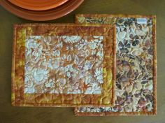 Quilted Mug Rug Snack Mat  Orange Gold Brown Batik by QuiltinWaYnE