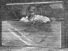 Lear Green escaping in her wooden chest. Illustration from The Underground Railroad: A Record of Facts, Authentic Narratives, Letters, Etc. by William Still, 1872.
