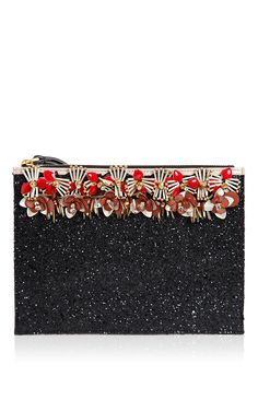 Black & Hot Red Embellished Clutch - Marni Accessories Resort 2016 - Preorder now on Moda Operandi