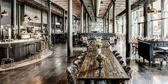 Industrial Interiors @ Titanic Hotel Liverpool // Chairs by Style Matters, Knutsford Industrial & Rustic Interior, Industrial Interiors, Rustic Interiors, Bar Restaurant Design, Café Restaurant, Titanic, Liverpool Bars, Menu Café, Ideas Cafe
