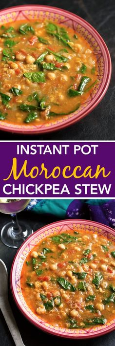 Instant Pot Moroccan Chickpea Stew is amazingly flavorful with cinnamon and cumin, and very healthy! This stew is a winner! Instant Pot Pressure Cooker, Pressure Cooker Recipes, Pressure Cooking, Slow Cooker, Crockpot Recipes, Soup Recipes, Vegetarian Recipes, Real Food Recipes, Cooking Recipes