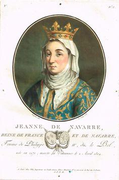 Jeanne de Navarre, Reine de France et de Navarre, Femme de Philippe IV, dit le Bel, née en 1271; morte à Vincennes le 2 Avril 1304 - série Y n°3 - MAS Estampes Anciennes - Antique Prints