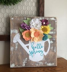 >>>Cheap Sale OFF! >>>Visit>> 25 Creative Hello Spring Free Printable and Wood Sign Ideas Mason Jar Crafts, Mason Jar Diy, Pallet Crafts, Wood Crafts, Felt Crafts, Easter Crafts, Tape Crafts, Crafts To Sell, Crafts For Kids