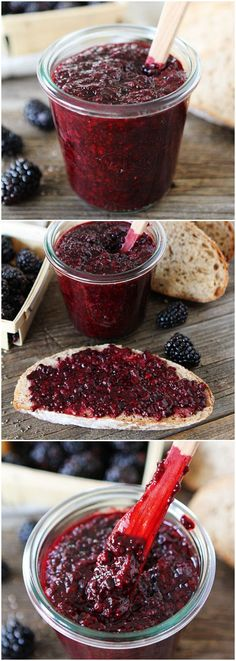Blackberry Chia Seed Jam on twopeasandtheirpod.com Homemade healthy jam in 20 minutes! Brilliant!