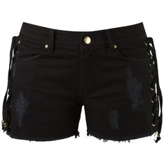 Amapô denim shorts (765 RON) ❤ liked on Polyvore featuring shorts, bottoms, pants, black, leather shorts, patch shorts, eyelet shorts, denim short shorts and denim shorts