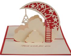Moon card moon greeting card pop up card/ 3d best wishes card/moon and cloud