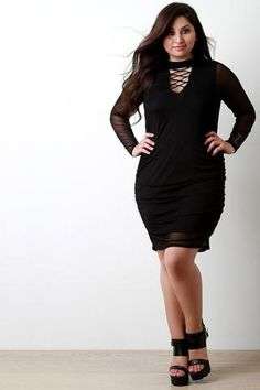 Mesh Overlay Mock Neck Crisscross Dress-Plus Size - Marks Urban Wear®