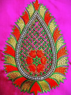 26 Super Ideas For Embroidery Designs Simple Templates Hand Work Blouse Design, Kids Blouse Designs, Simple Blouse Designs, Bridal Blouse Designs, Kurti Embroidery Design, Embroidery Neck Designs, Embroidery Works, Zardozi Embroidery, Hand Embroidery