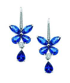 "Graff Blue Diamond | Graff ""Butterfly Series"" earrings – sapphire, white diamonds ..."