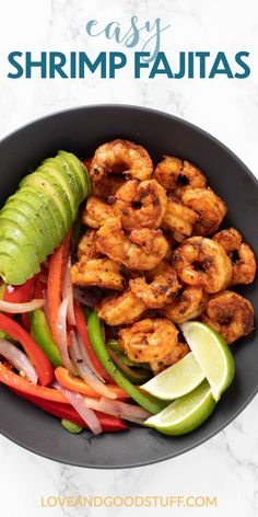 These easy chilli spiced shrimp fajitas are cooked stove top in a cast iron skillet in just 20 minutes. The perfect healthy weeknight meal! Shrimp Recipes, Veggie Recipes, Lunch Recipes, Mexican Food Recipes, Whole Food Recipes, Dinner Recipes, Fish Recipes, Dinner Ideas, Healthy Recipes