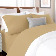 Briarwood Home 100% Cotton Solid Percale Sheet Set Size: Twin XL, Color: Tan