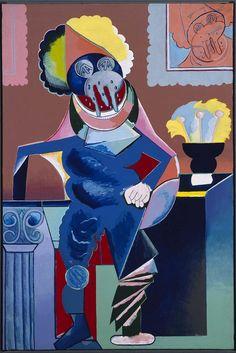 Caballero cubista aux larmes. 1973. Acrílico sobre lienzo, 160 x 106 cm. Museo Reina Sofía. Obra de Luis Gordillo