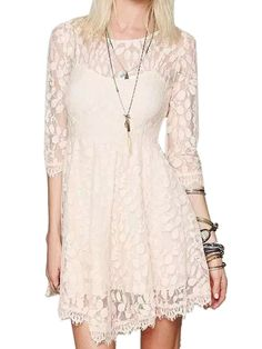 Beige Lace 3/4 Sleeve High Waist Dress