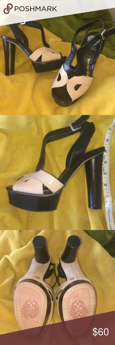 """NIB Vince Camuto Trinity Sandal Blk/Champagne 6.5 Brand new never worn Vince Camuto leather and patent leather sandals. 5"""" round heel with 1"""" platform in front. The champagne front is patent leather. Surprisingly comfy - a little too narrow for me (but still and actual M width fit). 4th pic shows slight flaw - edge of leather glue maybe? Sure it can be covered with permanent marker.  Inside - not noticeable when on. Box if you want it. Vince Camuto Shoes Heels"""