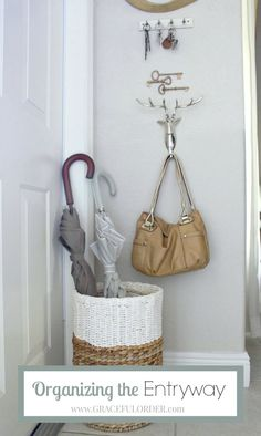 Great tips to organize a narrow entryway! Even the smallest entryway can benefit from these ideas!