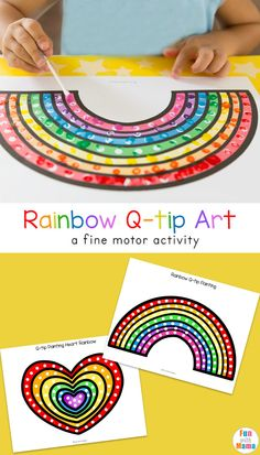 Fun q-tip cotton swab art free printable activities for preschool kids to work on fine motor skills and pincer grip. #painting #artactivity #freeprintable