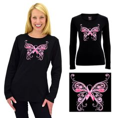 Pink Ribbon Butterfly Long Sleeve Tee