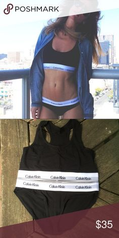 XL Calvin Klein bra and panty set New with tag. No damages or issues. Never worn or tried on. Buttery soft, highly sought after. Calvin Klein Intimates & Sleepwear Bras