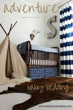 Adventure themed nursery. Woodland Deer Rustic Hunting Camping Fishing baby nursery and playroom.