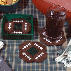 Leisure Arts - Super Bowl Coasters Plastic Canvas Patterns ePattern, $2.99 (http://www.leisurearts.com/products/super-bowl-coasters-plastic-canvas-patterns-digital-download.html)