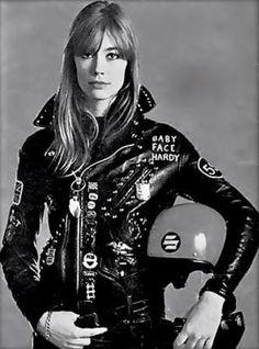 Françoise Hardy - bike - motorcycle - sweet ride - http://www.francoise-hardy.com/ motorcycle gear / helmet / jacket / moto baby face hardy Great old style motorcycle chick