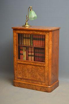 elegant victorian burr walnut bookcase music cabinet drinks cabinet