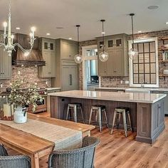 Farmhouse Kitchen Decor Ideas: Great Home Improvement Tips You Should Know! You need to have some knowledge of what to look for and expect from a home improvement job. Kitchen Decor, Kitchen Style, Rustic House, Home Kitchens, Home, Rustic Farmhouse Kitchen, Kitchen Design, Farmhouse Kitchen Island, Kitchen Island Design