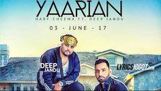 """Yaarian Song Lyrics from """"Harf Cheema"""" Latest Punjabi Song . The song """"Yaarian"""" sung and lyrics penned by Harf Cheema . The new punjabi song 'Yaarian' Music composed by Deep Jandu. Yaarian Song Lyrics from Harf"""